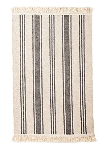 Ikea Flatwoven Area Kitchen Rug Stripes Cotton Gray