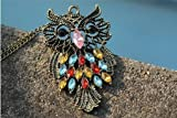 MBOX Antique Alloy with Colour Crystal Owl Long Prendant Necklace