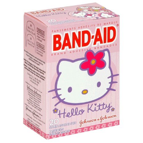 Band-Aid Brand Adhesive Bandages, Hello Kitty Decorated Bandages, 20-Count Assorted Sizes (Pack of 4)