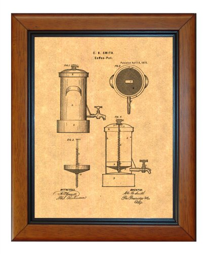 "Coffee Pot Patent Art Print In A Honey Glazed Wood Frame (8.5"" X 11"")"