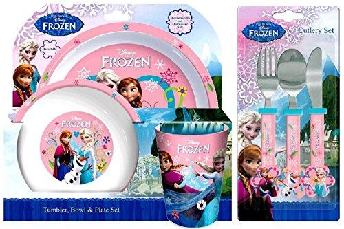 Disney Frozen - Servizio di stoviglie da 6 pezzi, motivo: Frozen, comprendente bicchiere, ciotola, piatto, coltello, forchetta e cucchiaio