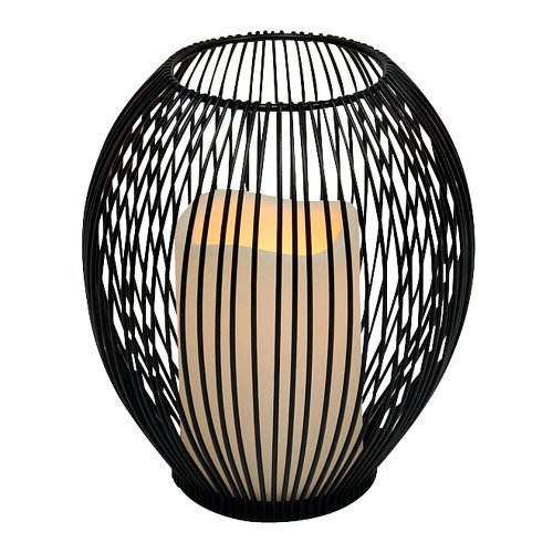 Everlasting Glow 6.25″ x 7″ Wire Open Work Lantern and LED Candle