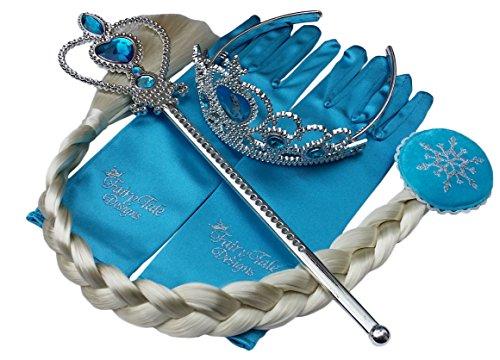 Set di 4 pezzi regina Elsa principessa Anna - Accessori costume per ragazze - Include bacchetta magica, tiara in strass, treccia di capelli e guanti da Fairy Tale Designs