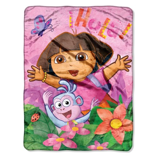 The Northwest Company Nickelodeon'S Dora Skip Jump Micro Raschel Blanket, 46 By 60-Inch