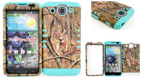 Lg Optimus G Pro E980 Real Deer On Camo Mossy Design Hard Plastic Snap On + Baby Teal Silicone Kickstand Cover Case front-1078874