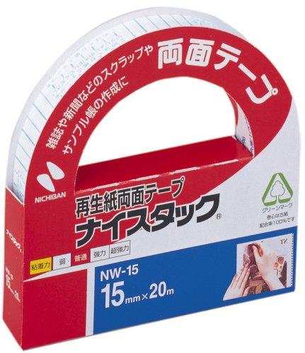 ニチバン 再生紙両面テープ ナイスタック 一般タイプ 15mm×20m 大巻 NW-15