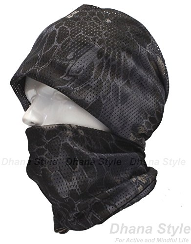 Dhana Style Breathable Neck Scarf Tactical Camo Mesh Scrim Nettting Shemagh Sniper Camouflage Face and Head Wrap Veil Cover / Airsoft Wargame, Sports, Other Outdoor Activities Type:MTLAN (HC-BLACK) (Head Cover Camo compare prices)