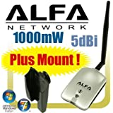 Alfa AWUS036H 1000mW 1W 802.11b/g USB Wireless WiFi Network Adapter with Antenna and Suction Cup Window Mount Dock