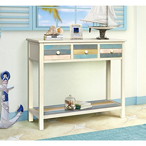 Gallerie Decor Seaside White/Blue/Yellow Wood Console Table 0