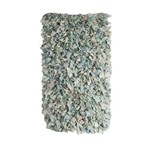 Ian Snow Silk and Crepe Shaggy Rug, Blue by Ian Snow