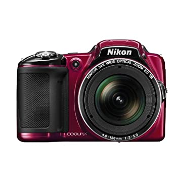 Nikon Coolpix L830 16MP CMOS Digital Camera with 34x Zoom and Full 1080p HD Video (Red)