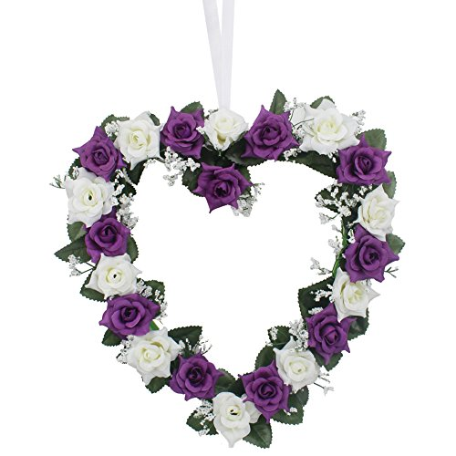 AerWo Heart Shaped Rose Wreath Hanging Door/Wall Wreaths Flowers Garland with Silk Ribbon for Home Wedding Car Decoration (Purple)