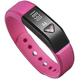 Juboury Universal Bluetooth Smart Activity Watch Wearable Fitness Tracker Bracelet Smart Wristbands with Pedometer Sleep Tracker (Rose-red)