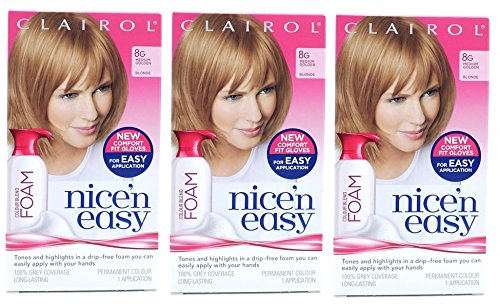 3-pack-clairol-nice-n-easy-colour-blend-foam-permanent-hair-dye-8g-medium-golden-blonde