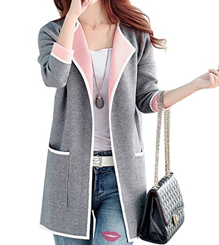 Olrain Women's Plus Size Knitted Cardigan Sweater Autumn Coats (Small, Grey)