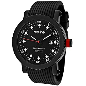 """red line Men's RL-18000-01-BB """"Compressor"""" Stainless Steel Watch With Black Silicone Band"""