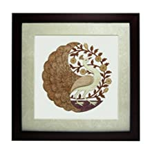 """The Bombay Store Wood & Glass Frame - Round Peacock L 10"""" H 10"""""""