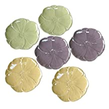 "Luster Flower Plate Set of 6 - Assorted (8"")"