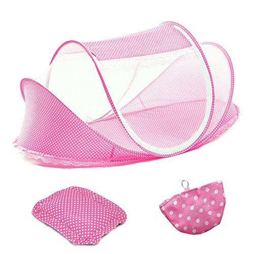 buy ColorBird Portable Infant Toddler Baby Travel Bed Tent - Foldable Mosquito Net Canopy Crib with Music Pack (Pink) for sale