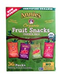Annies Homegrown Organic Vegan Fruit Snacks Variety Pack 36 Pouches - .8 Oz. Each