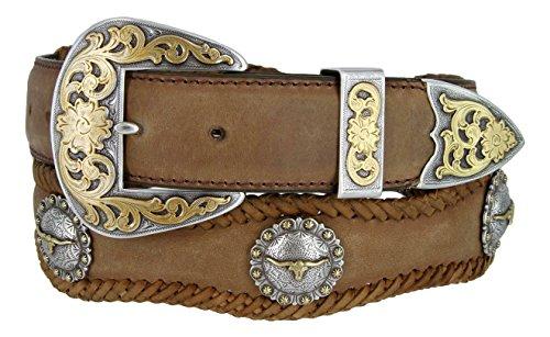 Laredo Gold Longhorn Steer Berry Conchos Leather Scalloped Belt Brown 38