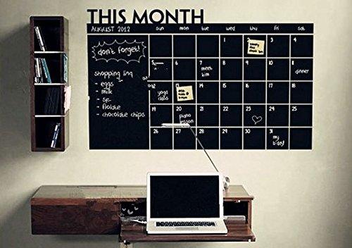 Chalkboard Calendar & Memo Board. Bonus Chalk Pen Included.