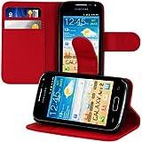 kwmobile Wallet Case Hülle für Samsung Galaxy Ace 2 - Cover Flip Tasche mit Kartenfach und Ständerfunktion in Rot
