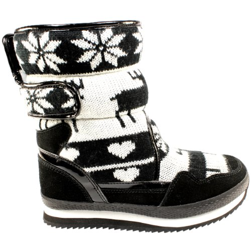 Womens Knitted Reindeer Fur Lined Snow Jogger Trainer Boots