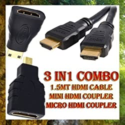 Oneness 3 in 1 High Speed HDMI to Mini/Micro HDMI Adapter Cable for PC TV Cell Phone