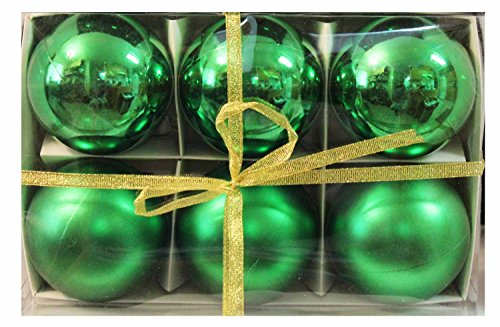 "Candance(TM)6pk 80mm Shatterproof ""Plain Green"" Christmas Ball Ornaments/Decorations/Disco Ball Mirror Party Christmas Xmas Tree Ornament Decoration/Christmas Ball Ornaments/Decorations/Christmas Tree Decorations Silver Mirror Ball Ornaments (Plain Green)"