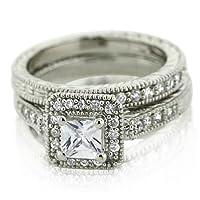 Sterling Silver CZ Princess Cut Wedding Ring Set