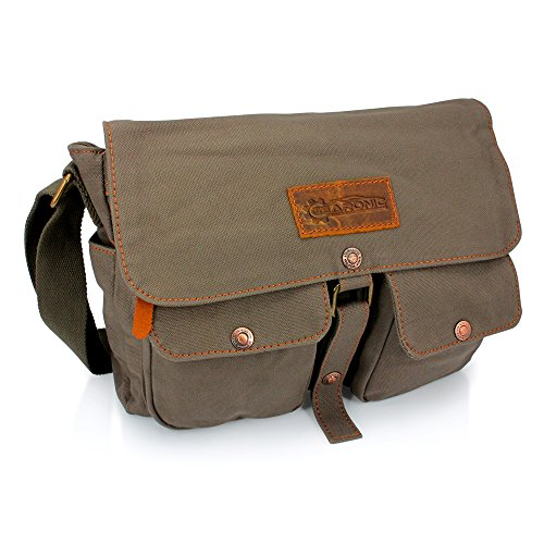 GEARONIC TM Men's Vintage Canvas Leather Satchel School Military Shoulder Messenger Crossbody Hiking Bag - Green (Vintage Mail Bag compare prices)