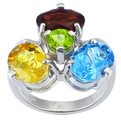 Sterling Silver Multi-Stone Cluster Ring, Size 6