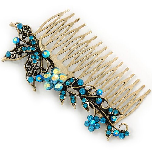 Vintage Inspired Teal Blue Swarovski Crystal 'Flower & Butterfly' Side Hair Comb In Antique Gold Tone - 115mm 3