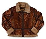 Snake Leather Shearling Jacket 2XL Brown by Leather Factory Outlet