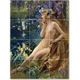 Greatest Purchase Gaston Bussiere Nudes Tile Mural Modern Decor. 36×48 in. using (12) 12×12 tiles Sale