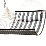 "Budge HAMQ55GW Polyester Yarn Quilted Hammock, 55 x 156"", Gray/White"