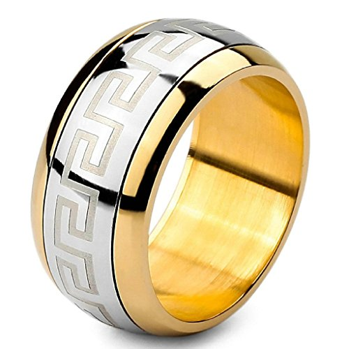 Epinki,Fashion Jewelry Men's Large Stainless Steel Ringss Band Silver Gold Greek Vintage Polished Size 10 (Oster Red Guards compare prices)