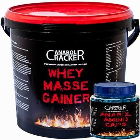Whey Masse Gainer, Eiweisspulver, 3000g Vanille oder Erdbeere Proteinshake + 350 Kapseln Anabol Amino Caps, Aminosäuren Bcaa
