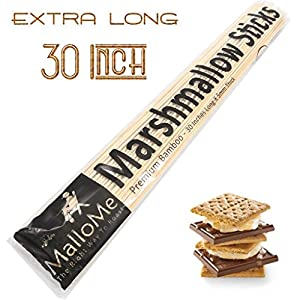 "MalloMe Bamboo Marshmallow Roasting Sticks 5mm Thick Extra Long Heavy Duty Wooden Hot Dog Smores Sticks Shish Kabob Skewers Fire Pit Campfire Cooking Kids, 30"" L, 100 Piece"