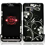Motorola Droid Bionic xt875 Accessory - black/Silver Flower & Vines Design Protective Hard Case Cover for Verizon