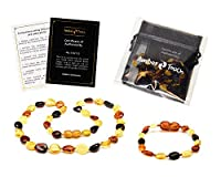 Baltic Amber Teething Necklace + Bracelet for Babies (Unisex) - Anti Flammatory, Drooling & Teething Pain Reduce Properties - Certificated Natural Baltic Amber with the Highest Quality. from BL-Amber