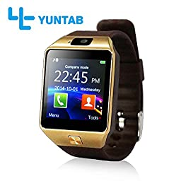 Yuntab SW01 Watch Bluetooth Smart Watch Fitness Wrist Wrap Watch Phone with Camera Touch Screen for Samsung HTC LG Android Phone Smartphone, support SIM card (Brown)