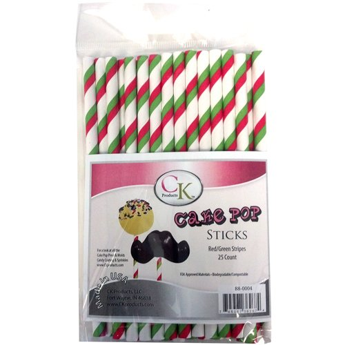 CK Products Cake Pop Sticks, 6-Inch, Red/Green