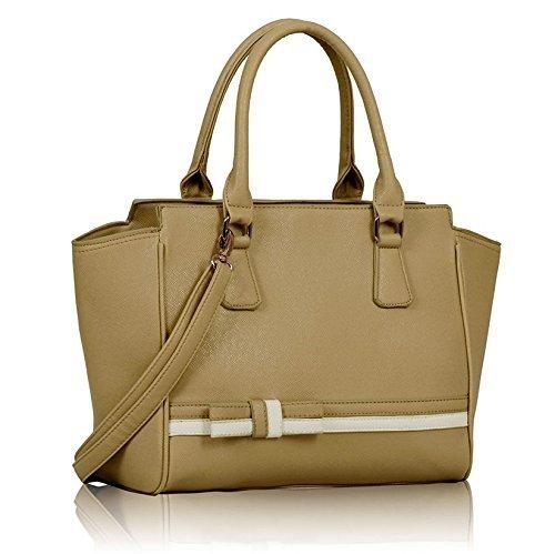 Ladies Nude White Handbag Bow Tie Long Strap Shoulder Bag Kcmode