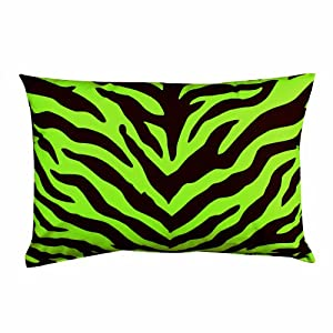 Zebra Print Oblong Decorative Pillow - Lime Green/Black