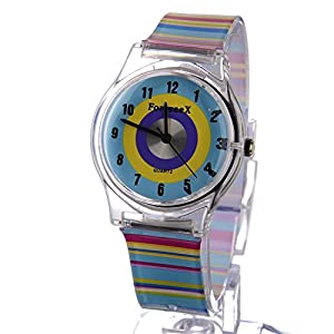 ForeseeX Colorful Band Soft Plastic Easy Read Children Boys Girls Wrist Watches FSX113-N2