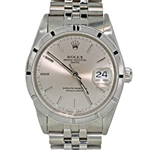 Men's Rolex 34mm Oyster Perpetual Date Stainless Steel Jubilee Stick Dial Watch 15010