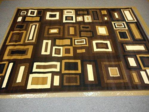 Dark Brown Light Brown Beige Square Cells Contemporary Rug 5'X8' Thick Pile High Density Carpet Area Rug Floor Mat Living room Bedroom 312