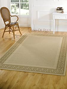 "XLarge Modern Flatweave Beige Rug in 200 x 290 cm (6'7"" x 9'6"") Carpet from Lord of Rugs"